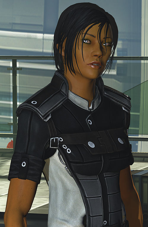Commander Shepard (Mass Effect 3) grey flight suit snarky
