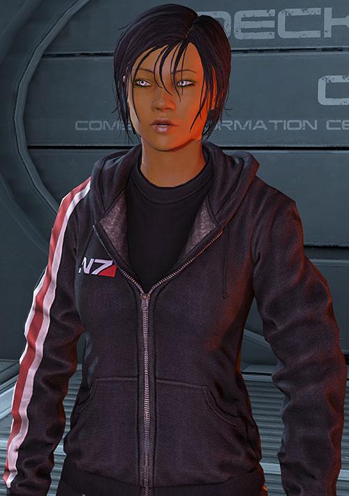 Commander Shepard (Mass Effect 3) N7 black hoodie amused