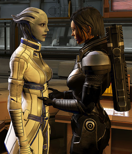 Commander Shepard (Mass Effect 3) playing with Liara's clothes