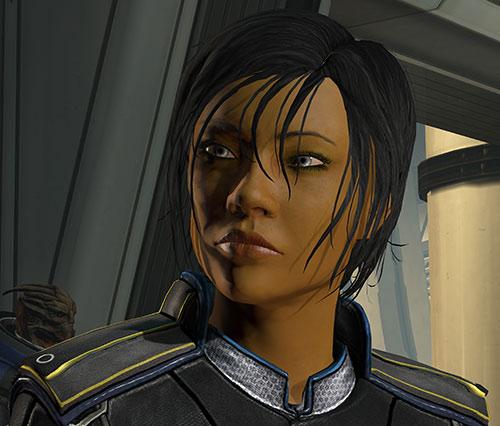Commander Shepard (Mass Effect 3) focused face