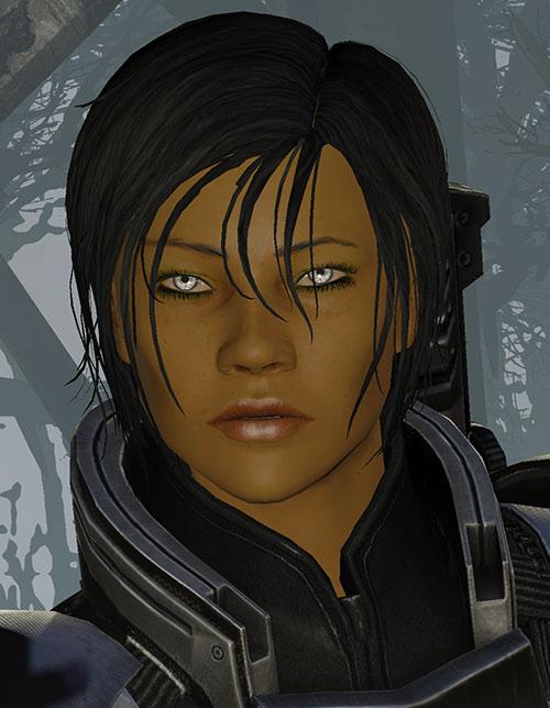 Commander Shepard (Mass Effect 3) face closeup dream sequence forest