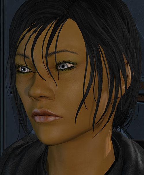 Commander Shepard (Mass Effect 3) face closeup silver eyes