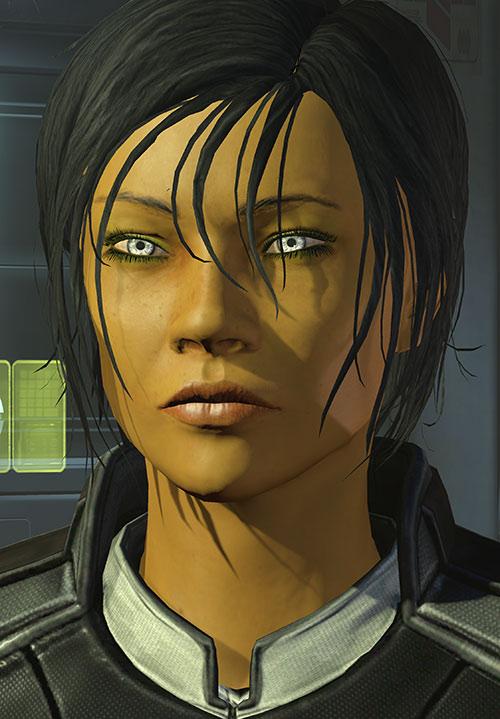 Commander Shepard (Mass Effect 3) determined face closeup green light