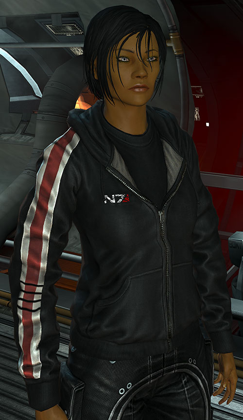 Commander Shepard (Mass Effect 3) with N7 hoodie on the Normandy