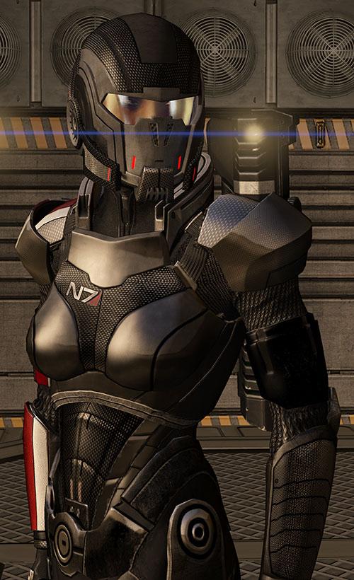 Commander Shepard (Mass Effect 3) Black N7 body armor lens flare