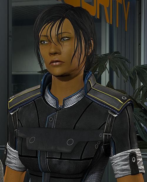 Commander Shepard (Mass Effect 3) wary expression