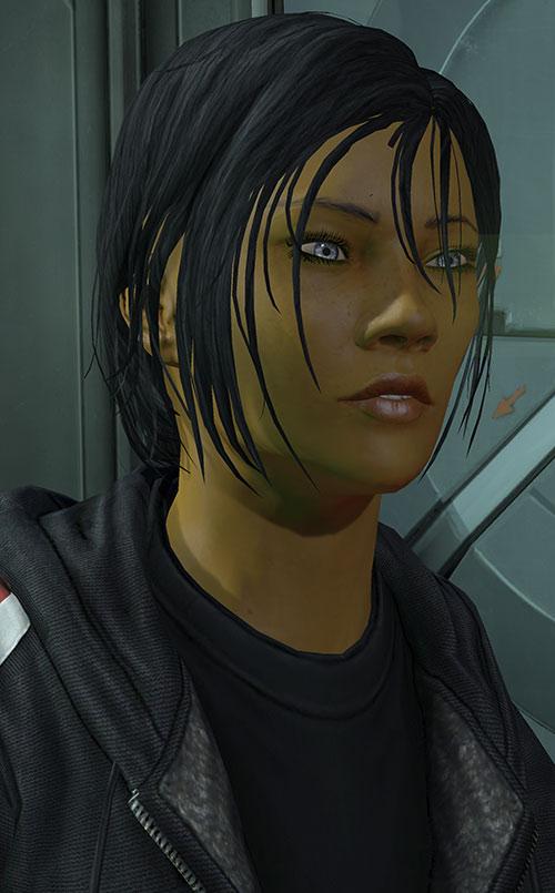 Commander Shepard (Mass Effect 3) faint smile