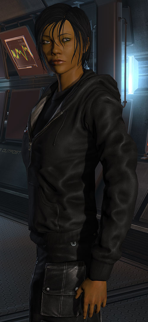Commander Shepard (Mass Effect 3) black hoodie closed expression