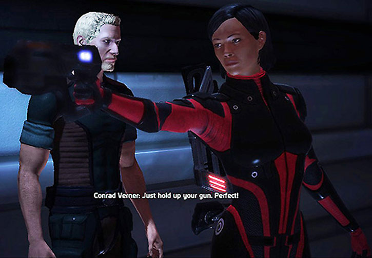 Commander Shepard takes a quick pose for Conrad Verner