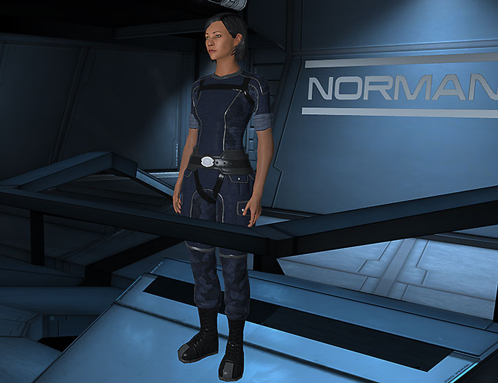 Commander Shepard at her command post on the Normandy