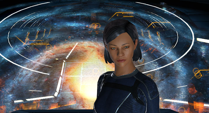 Commander Shepard on the Normandy command deck
