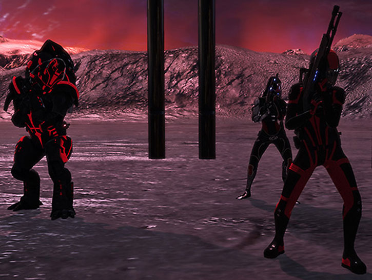 Commander Shepard, Wrex and Tali approach a building