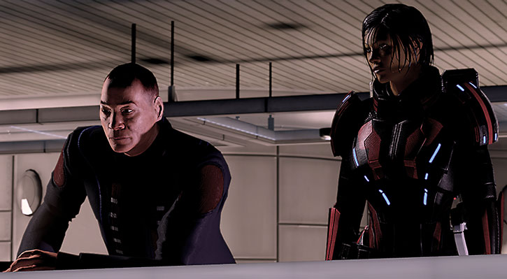 Commander Shepard talks with her mentor Captain Anderson on the Citadel