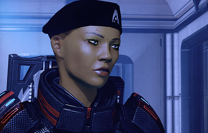 Commander Shepard with a beret and some remaining scars