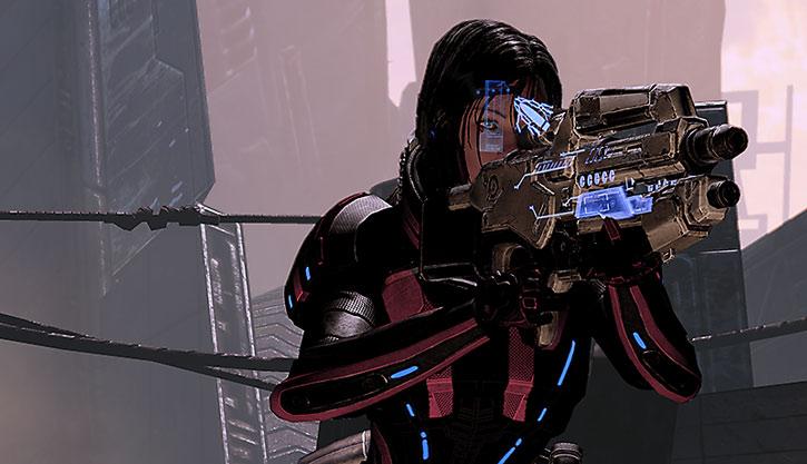 Commander Shepard aims her Mattock in anti-shields mode