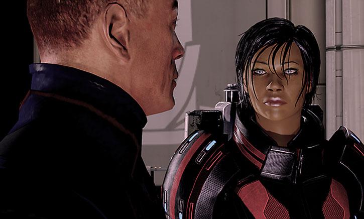Commander Shepard listens to Captain Anderson