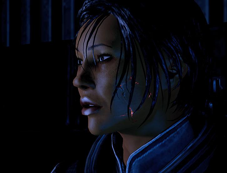 Commander Shepard still bearing some scars from her resurrection