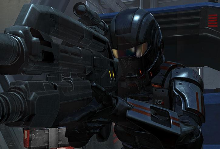 Commander Shepard taking aim