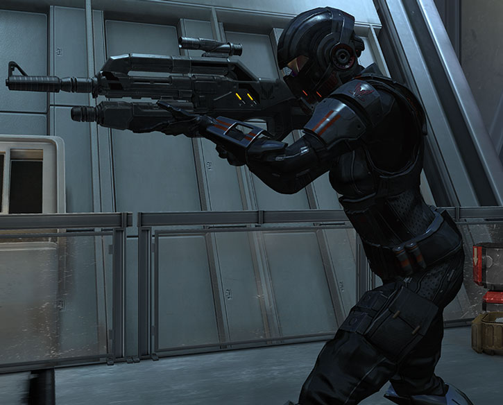 Commander Shepard in Ajax armor and wielding her modified rifle