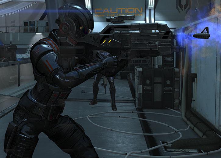 Commander Shepard's rifle lets off heat