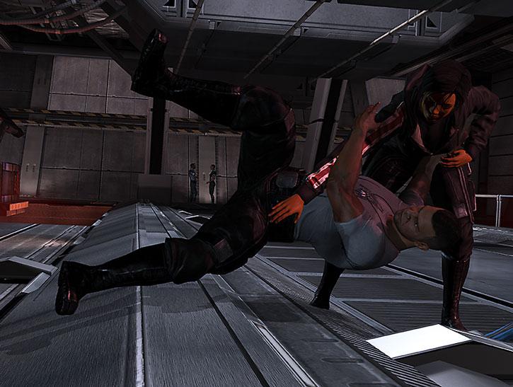 Commander Shepard throws James Vega