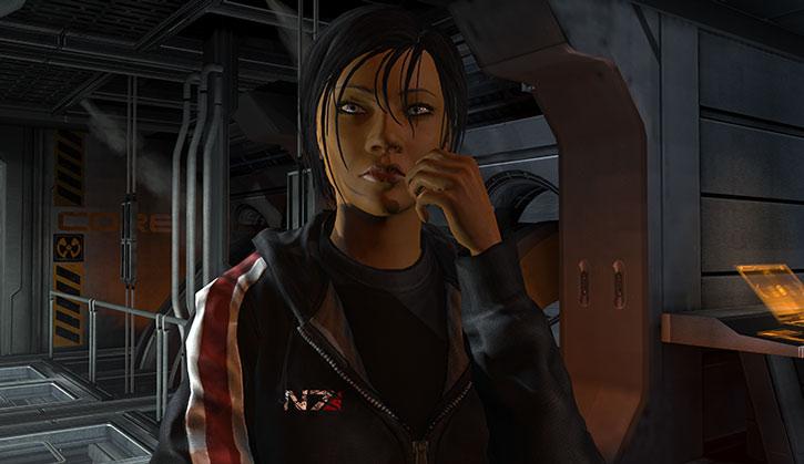 Commander Shepard confers with her engineering team