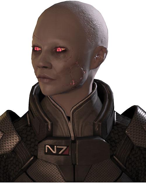 Commander Shepard (Mass Effect 2) (Mandala) (zombie) face closeup left side