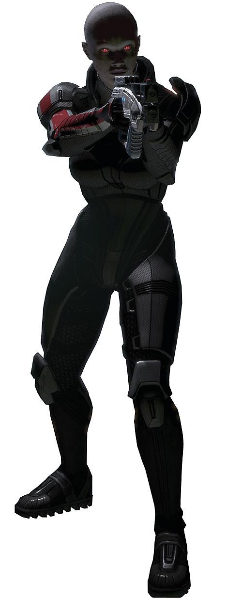 Commander Shepard (Mass Effect 2) (Mandala) (zombie) in N7 gray armor pointing her Predator