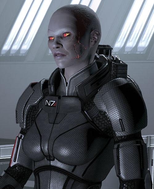 Commander Shepard (Mass Effect 2) (Mandala) (zombie) scars glowing orange