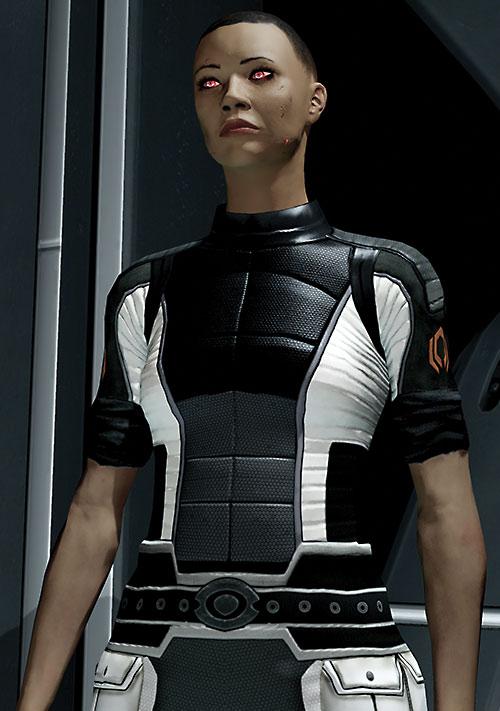 Commander Shepard (Mass Effect 2) (Mandala) in a Cerberus jumpsuit after her resurrection