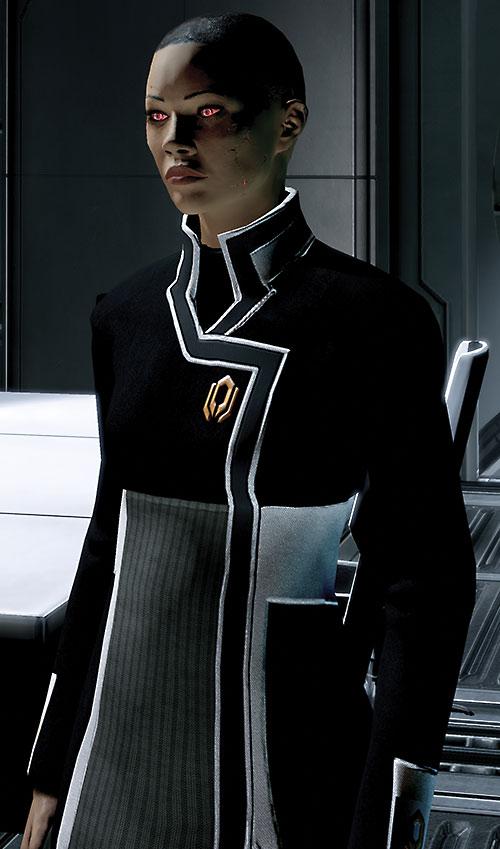 Commander Shepard (Mass Effect 2) (Mandala) recovering from death, Cerberus flight uniform