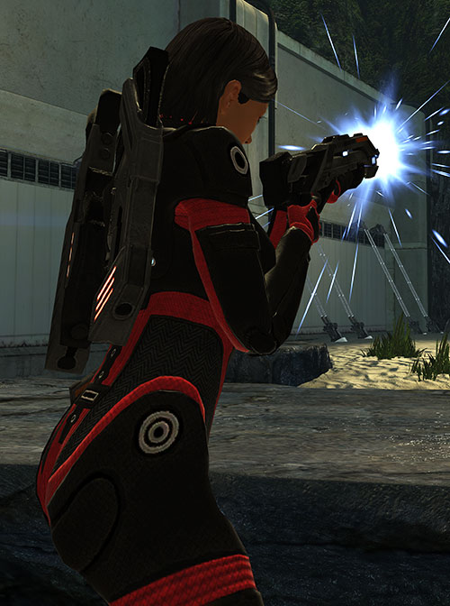 Commander Shepard (Mass Effect 1) (Mandala) firing a shotgun