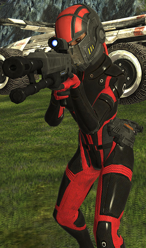 Commander Shepard (Mass Effect 1) (Mandala) in hardsuit aiming a rifle
