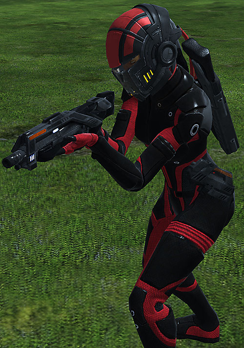 Commander Shepard (Mass Effect 1) (Mandala) pointing a shotgun