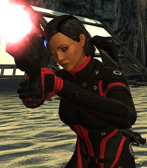 Commander Shepard (Mass Effect 1) (Mandala) firing her pistol