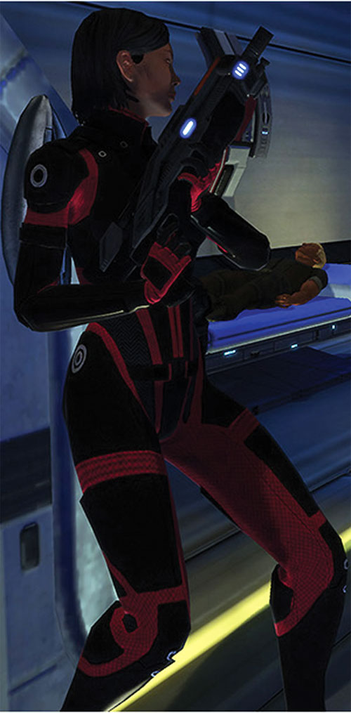 Commander Shepard (Mass Effect 1) (Mandala) with a shotgun ready
