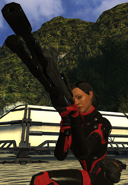 Commander Shepard (Mass Effect 1) (Mandala) sniper rifle dramatic shot