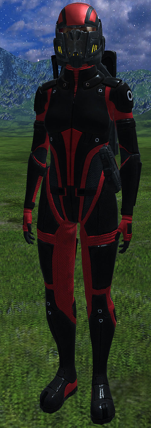 Commander Shepard (Mass Effect 1) (Mandala) in Colossus armor on a plain