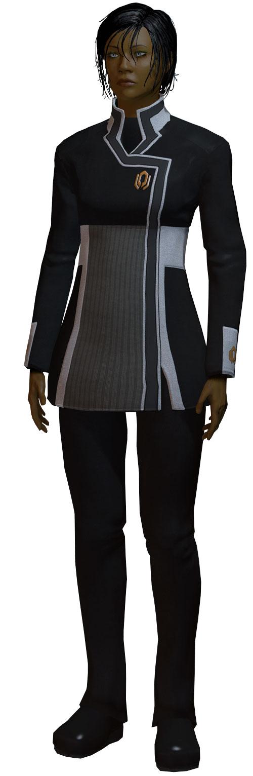 Commander Shepard (Mass Effect 2 late) standing in a Cerberus uniform white background