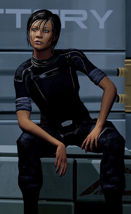 Commander Shepard (Mass Effect 2 late) sitting on a crate