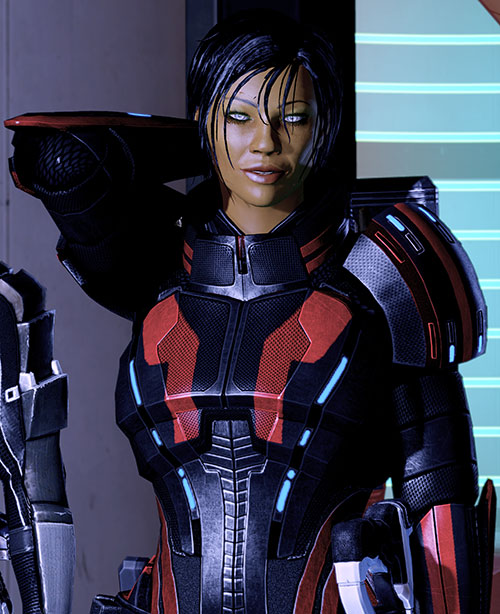 Commander Shepard (Mass Effect 2 late) smiling and rubbing the back of her neck