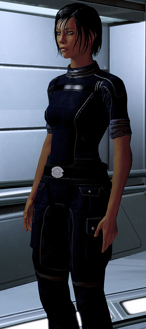 Commander Shepard (Mass Effect 2 late) blue Alliance jumpsuit closed expression