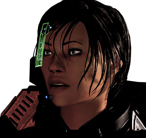 Commander Shepard (Mass Effect 2 late) surprised expression green visor