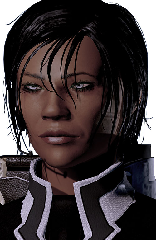 Commander Shepard (Mass Effect 2 late) face suinting eyes slight smile small radio headset