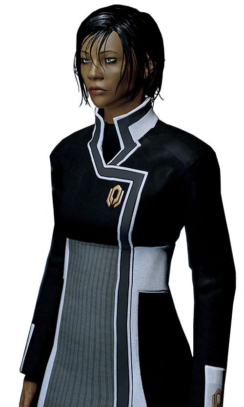 Commander Shepard (Mass Effect 2 late) looking tired, Cerberus uniform