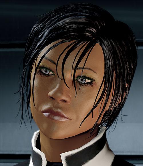 Commander Shepard (Mass Effect 2 late) face closeup cocked head