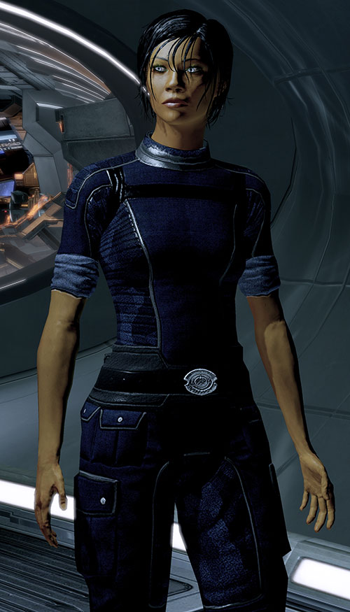 Commander Shepard (Mass Effect 2 late) in Alliance blues on the Normandy