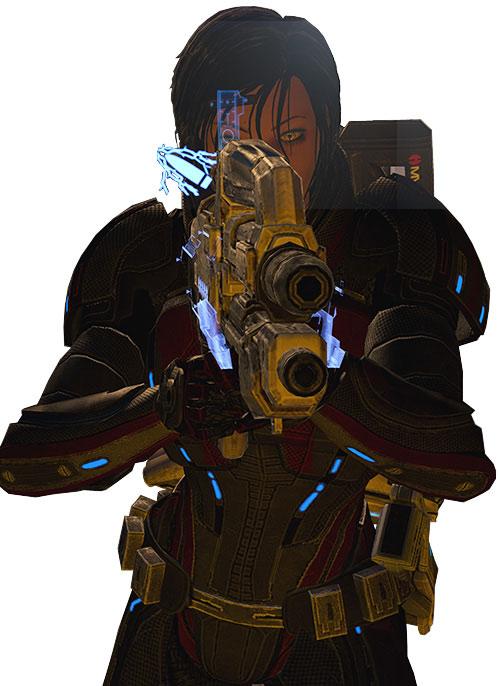Commander Shepard (Mass Effect 2 late) aiming her Mattock, anti-shields rounds