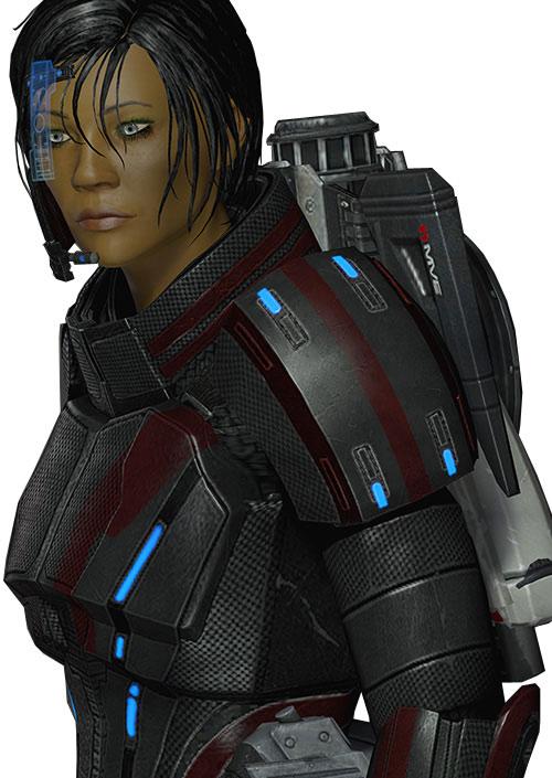Commander Shepard (Mass Effect 2 late) focused, black and red Kestrel hardsuit