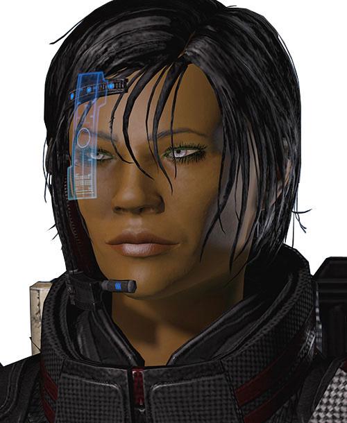 Commander Shepard (Mass Effect 2 late) smiling dangerously